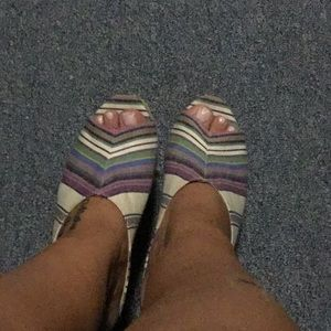 Multi colored wedge sandals